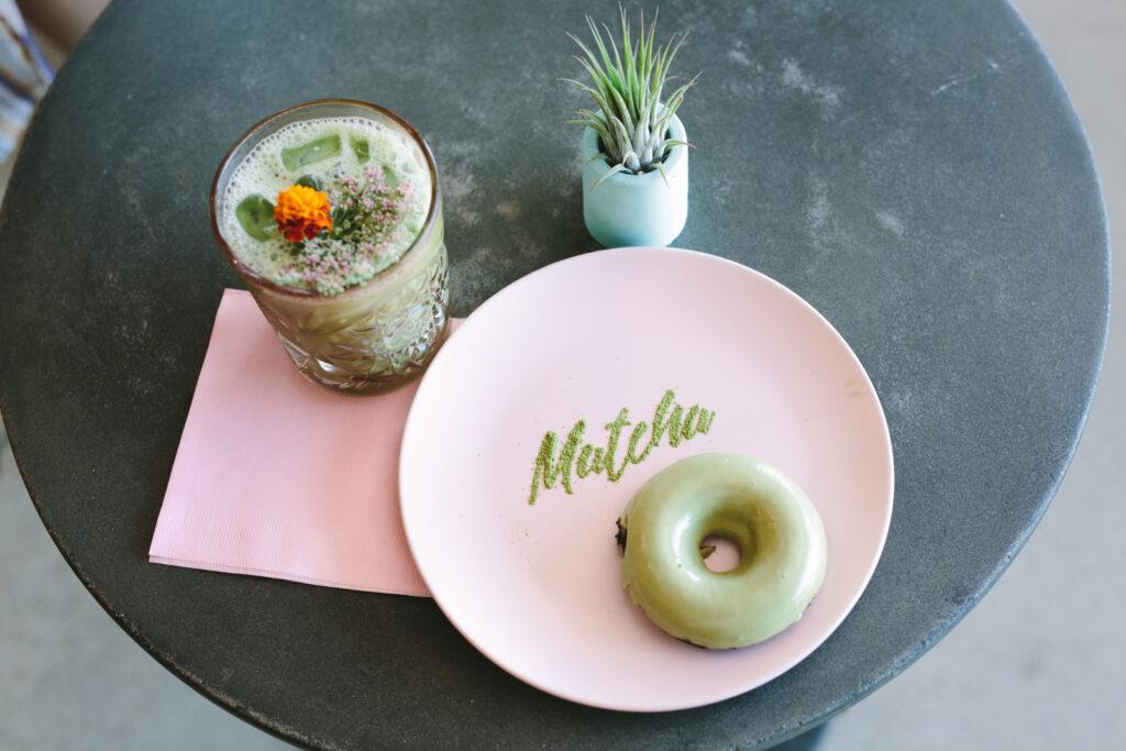 matcha donut on table