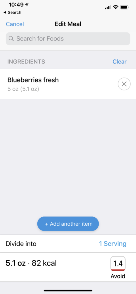 DayTwo app of blueberries