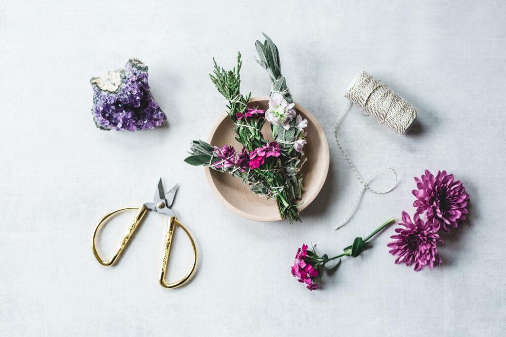 sage bundles and flowers