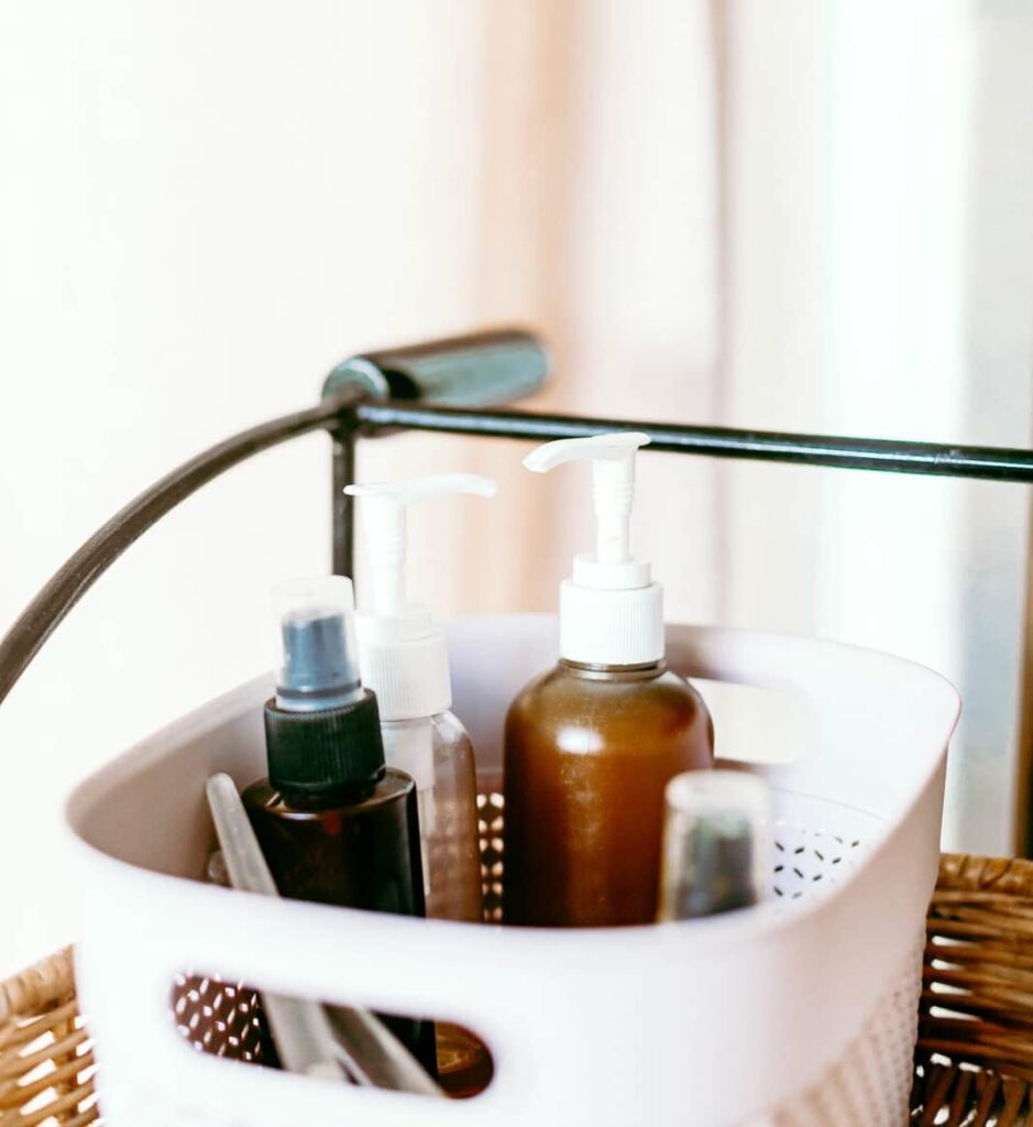 skincare products in a white basket