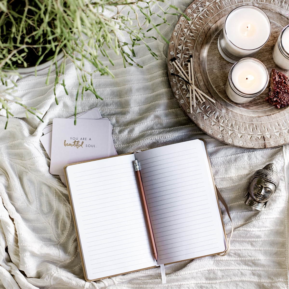 journal and candles