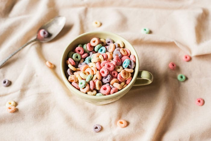 bowl of fruit loops cereal