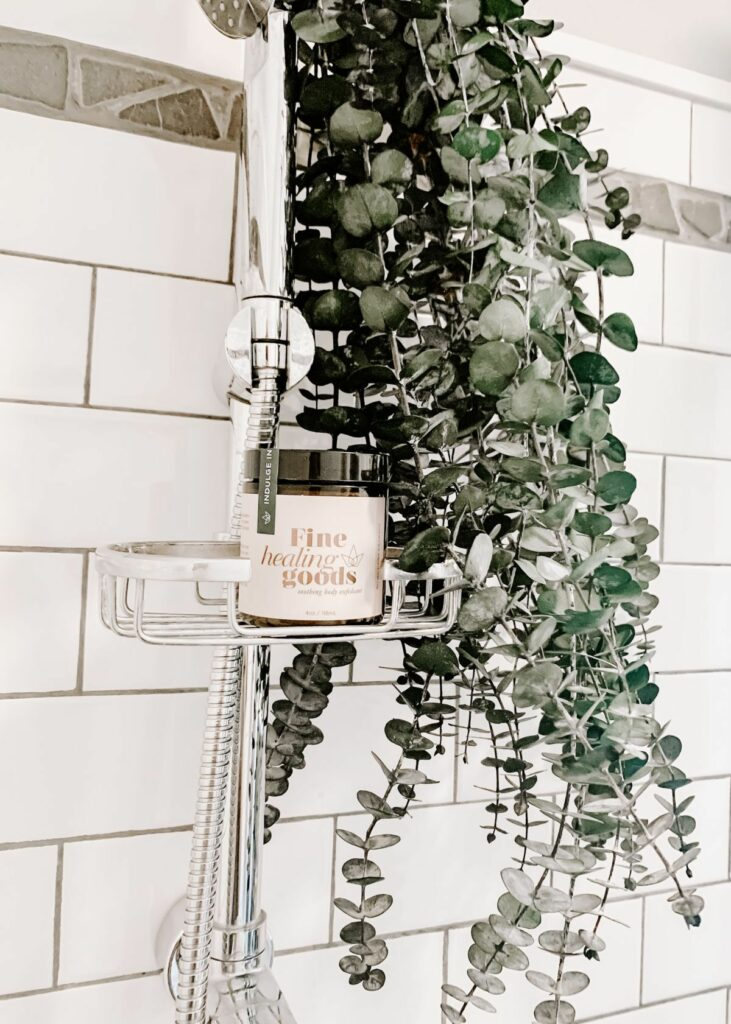 shower tile with plants