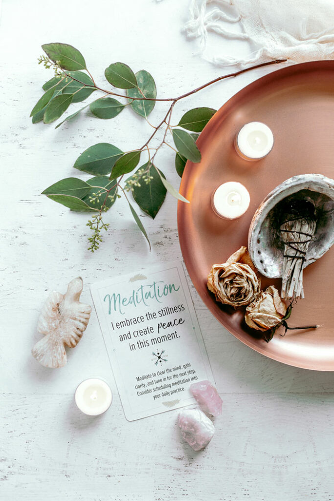 meditation altar and card