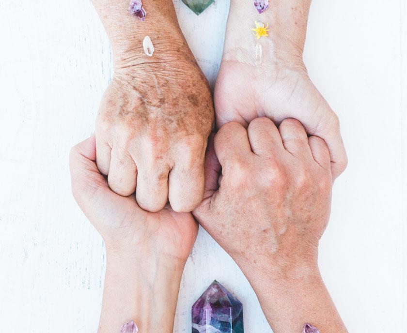 Holding hands for teamwork