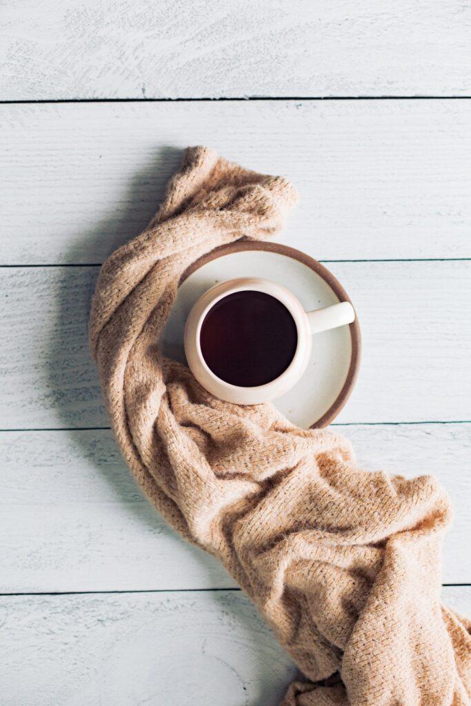 mug of coffee and a blanket