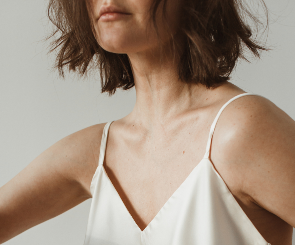 woman using skincare
