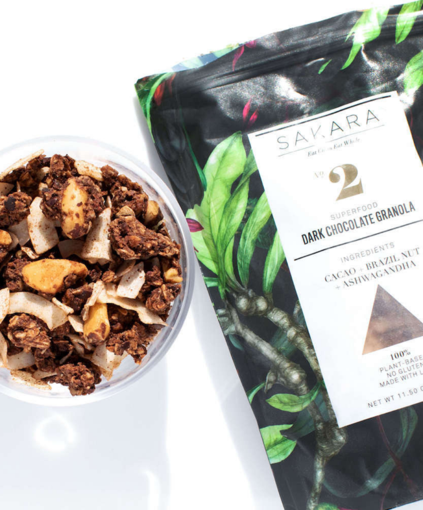 sakara dark chocolate granola bag