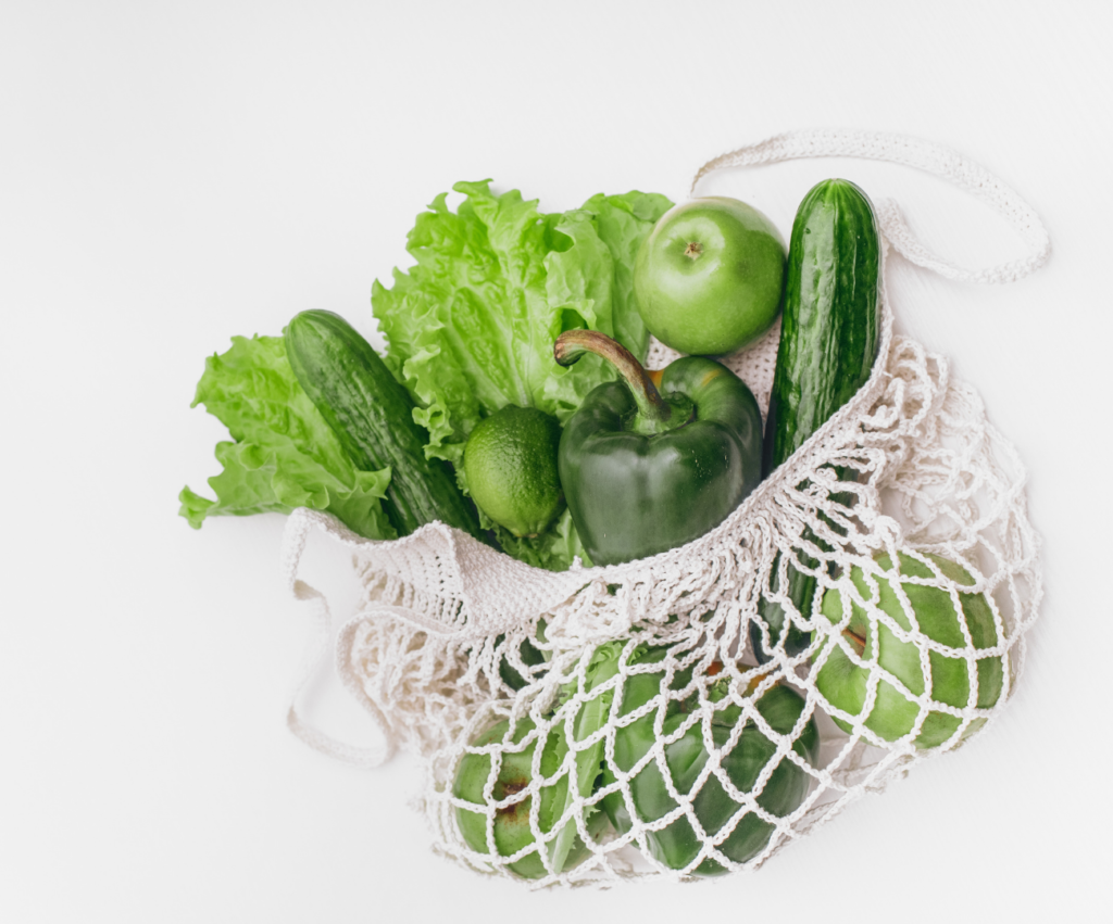 fruits and vegetables in mesh bag